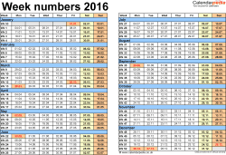Template 2: Week Numbers 2016 as Word, Excel and PDF templates