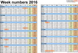 Template 2: Week Numbers 2016 as Excel, PDF & Word templates