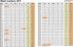 Template 1: Week Numbers 2017 as Word, Excel and PDF templates