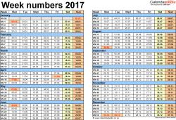 Template 2: Week Numbers 2017 as Excel, PDF & Word templates