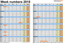 Template 2: Week Numbers 2018 as Word, Excel and PDF templates