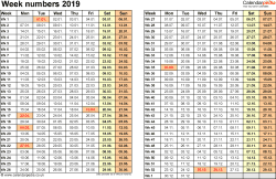 Template 1: Week Numbers 2019 as Word, Excel & PDF templates