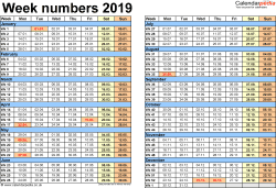 Template 2: Week Numbers 2019 as Word, Excel and PDF templates