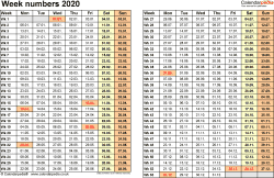 Template 1: Week Numbers 2020 as Word, Excel and PDF templates