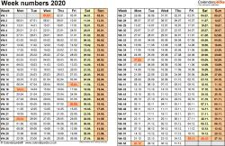 Template 1: Week Numbers 2020 as Excel, PDF & Word templates