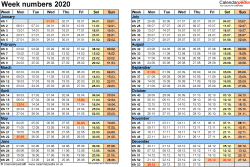 Template 2: Week Numbers 2020 as Word, Excel and PDF templates