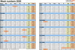 Template 2: Week Numbers 2020 as Excel, PDF & Word templates