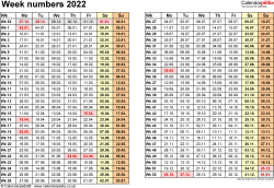 Template 1: Week Numbers 2022 as Excel, PDF & Word templates