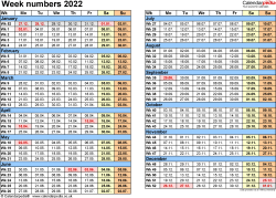 Template 2: Week Numbers 2022 as Excel, PDF & Word templates