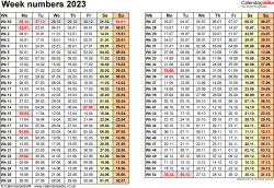 Template 1: Week Numbers 2023 as Word, Excel & PDF templates