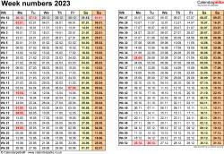 Template 1: Week Numbers 2023 as Excel, PDF & Word templates