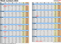 Template 2: Week Numbers 2023 as Word, Excel and PDF templates