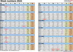 Template 2: Week Numbers 2024 as Word, Excel & PDF templates