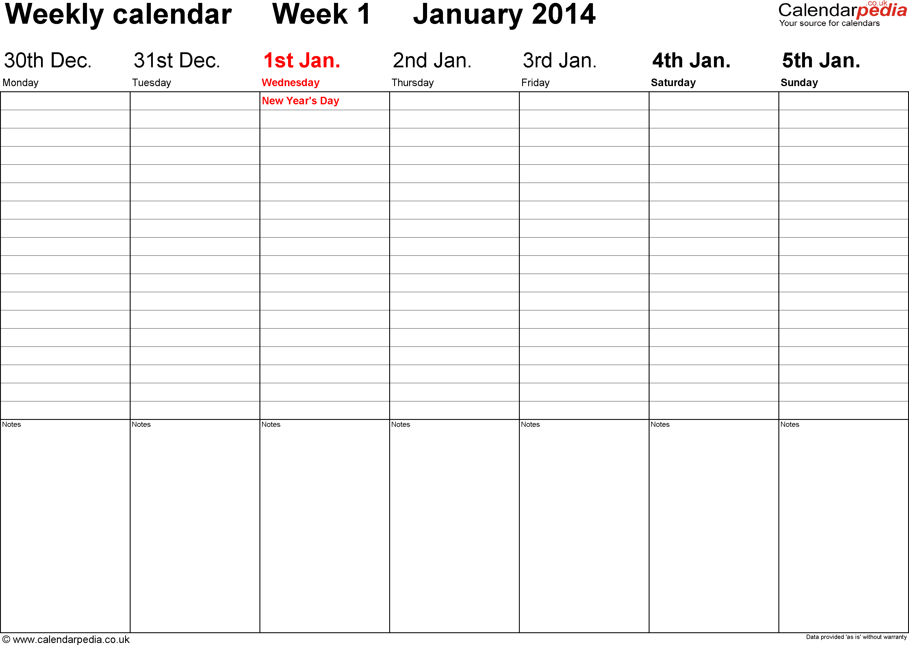 Word template 2: Weekly calendar 2014, landscape orientation, days ...