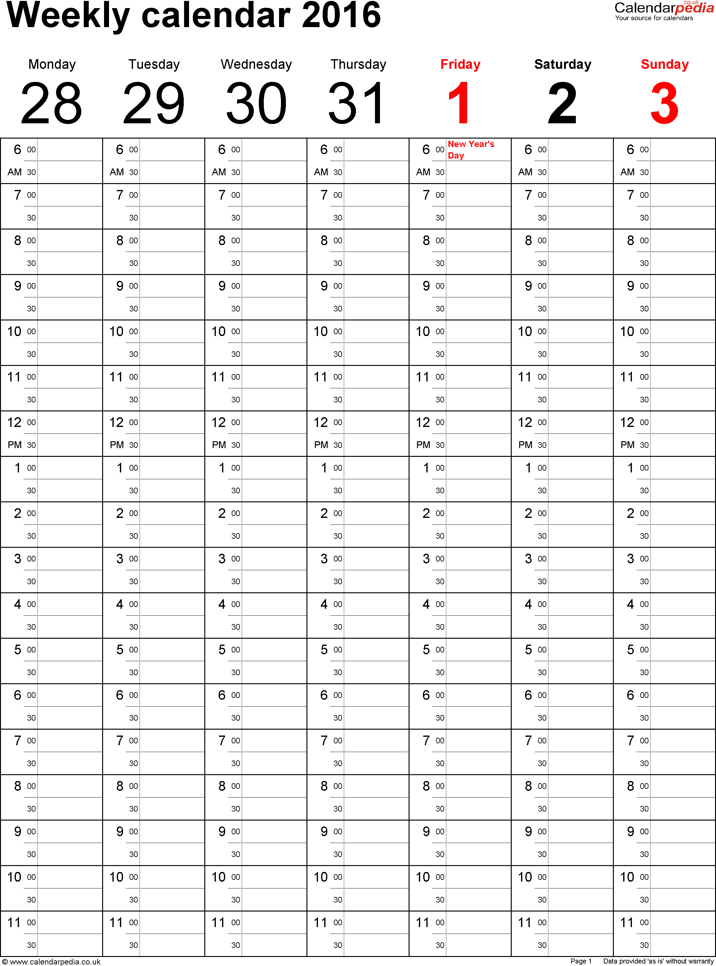 excel template 3: weekly图片