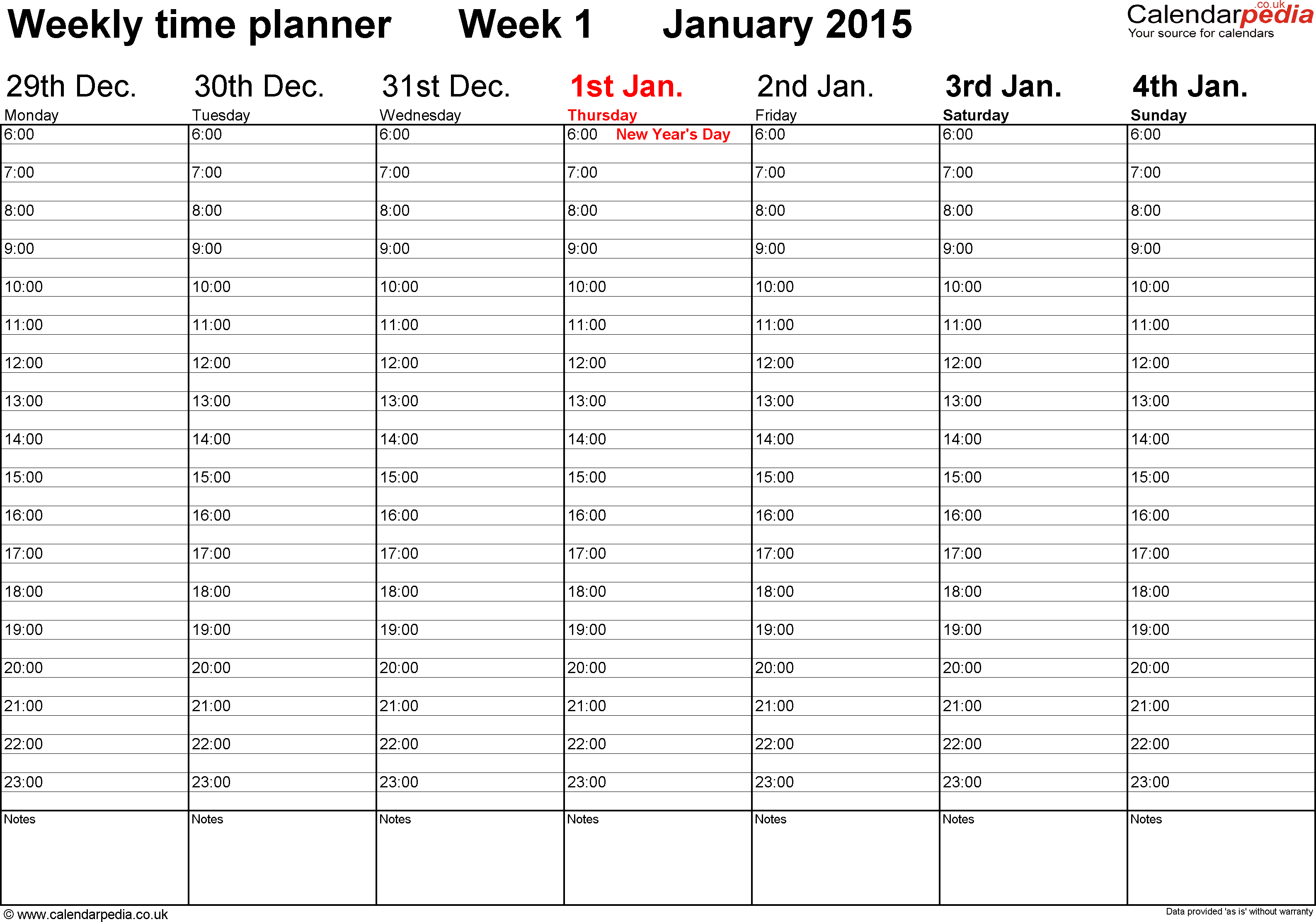 Daily Planner Calendar : Weekly calendar uk free printable templates for word
