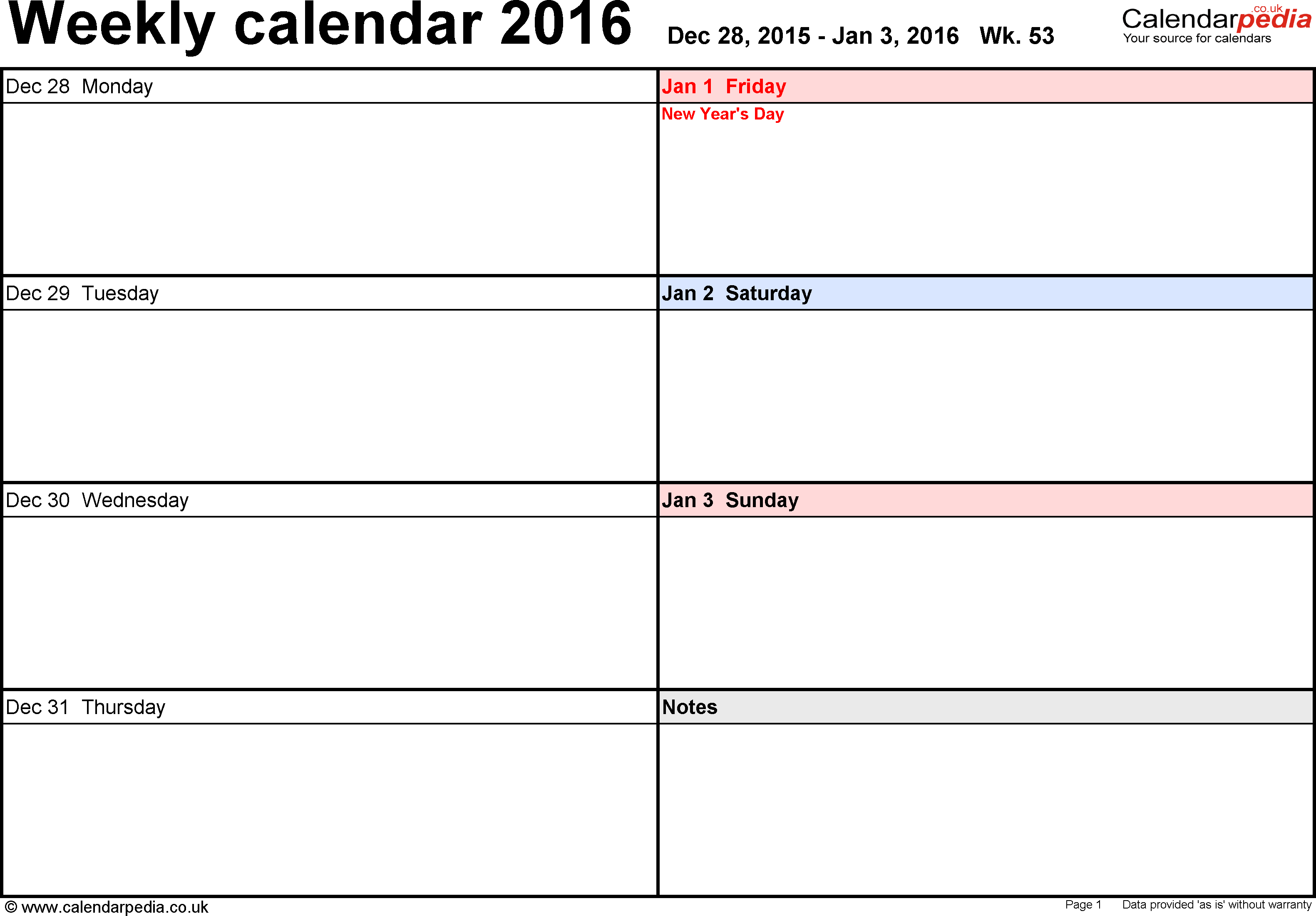 Download PDF template 6: Weekly calendar 2016, landscape orientation, days horizontally, 53 pages (1 calendar week on 1 page)