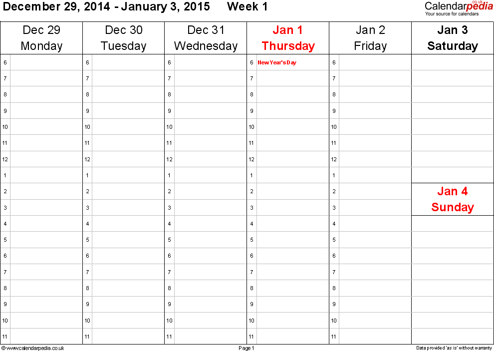 Weekly Calendar With Hours : Weekly calendar uk free printable templates for word