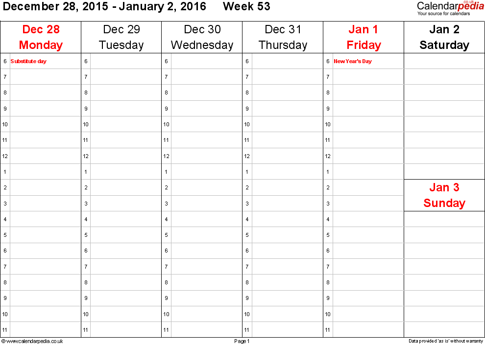 Weekly calendar 2016 UK free printable templates for Word – Word Weekly Calendar