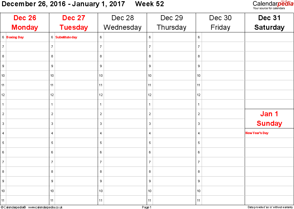 PDF template 4: Weekly calendar 2017, landscape orientation, 53 pages (1 calendar week on 1 page), time management layout (1 hour steps), Saturday & Sunday share one column