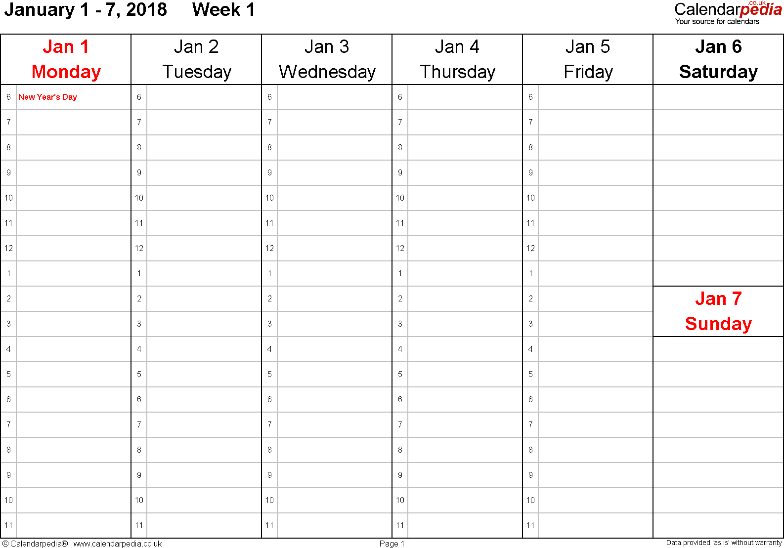 Download Word template 4: Weekly calendar 2018, landscape orientation, 53 pages (1 calendar week on 1 page), time management layout (1 hour steps), Saturday & Sunday share one column