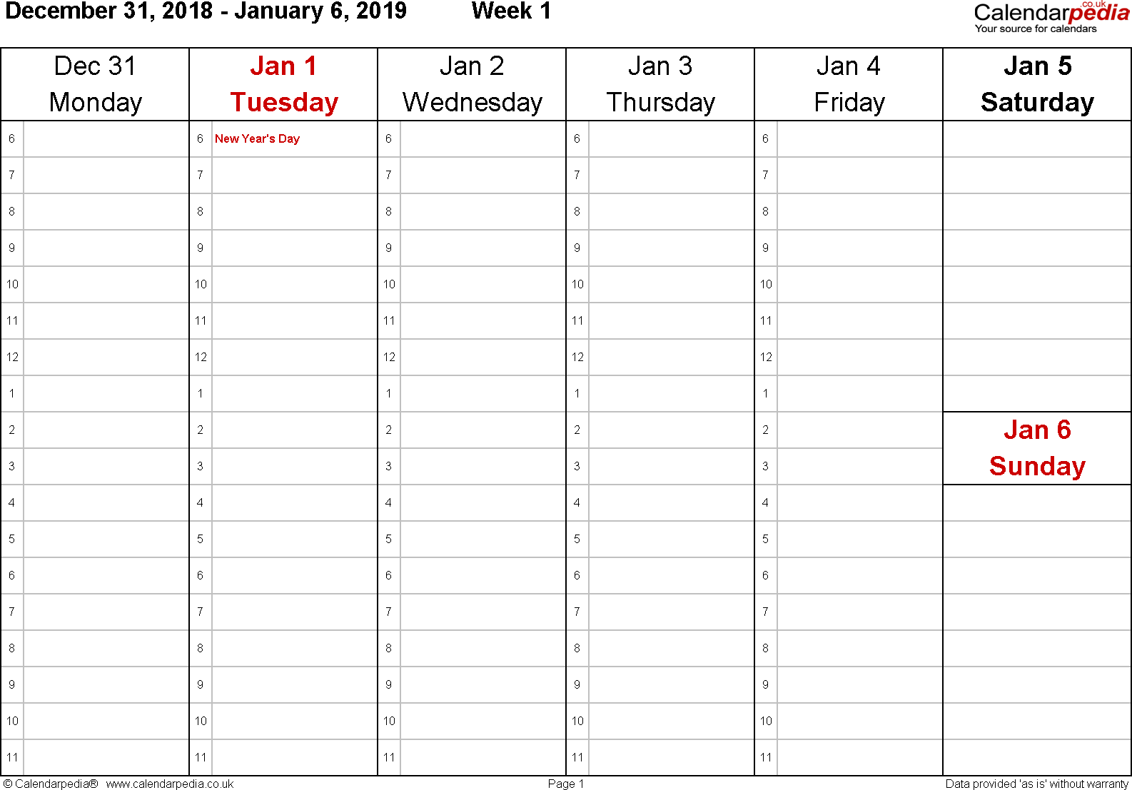 PDF template 4: Weekly calendar 2019, landscape orientation, 53 pages (1 calendar week on 1 page), time management layout (1 hour steps), Saturday & Sunday share one column