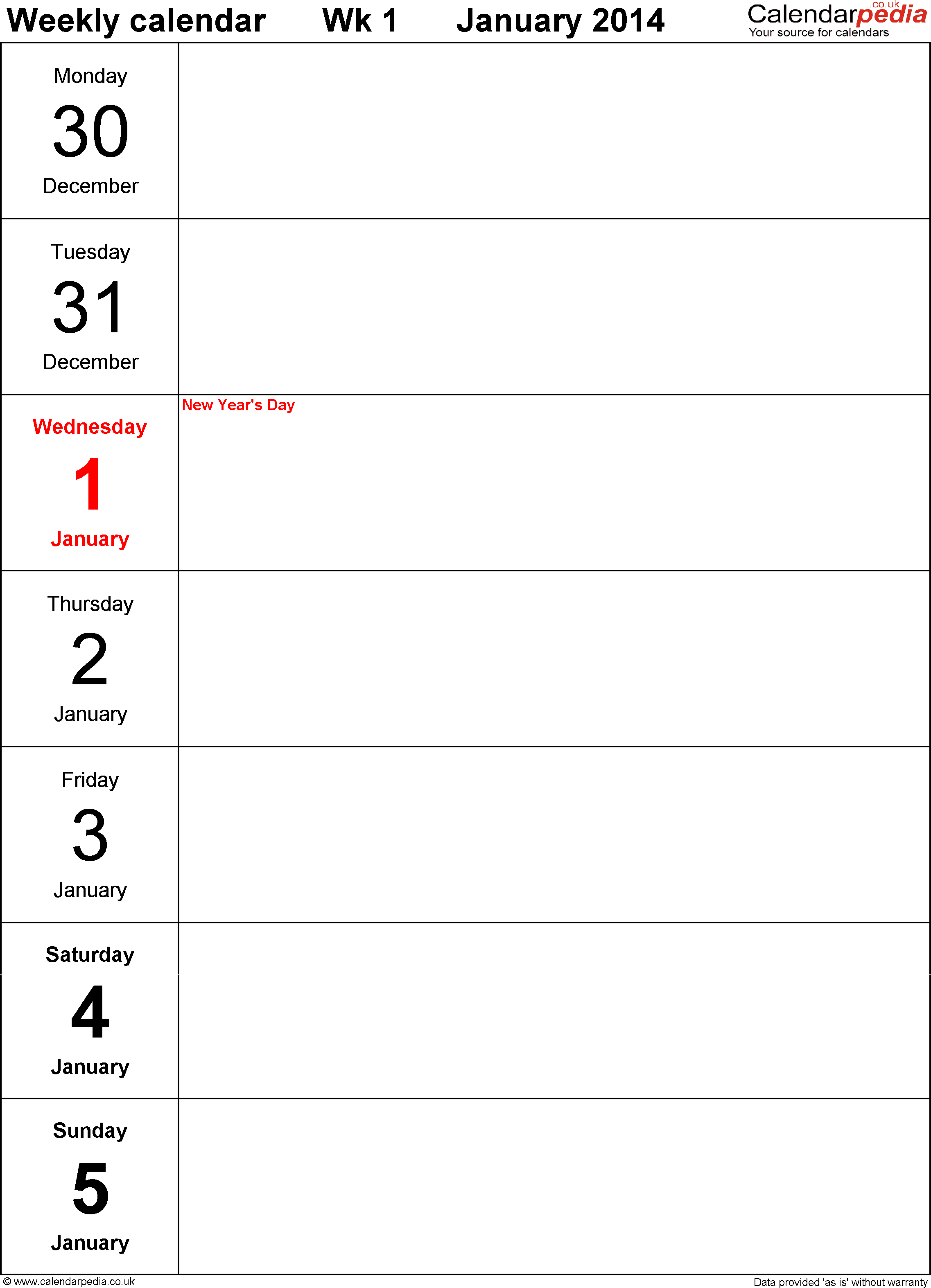 Download PDF template 4: Weekly calendar 2014, portrait orientation, days vertically, 53 pages (1 calendar week on 1 page)