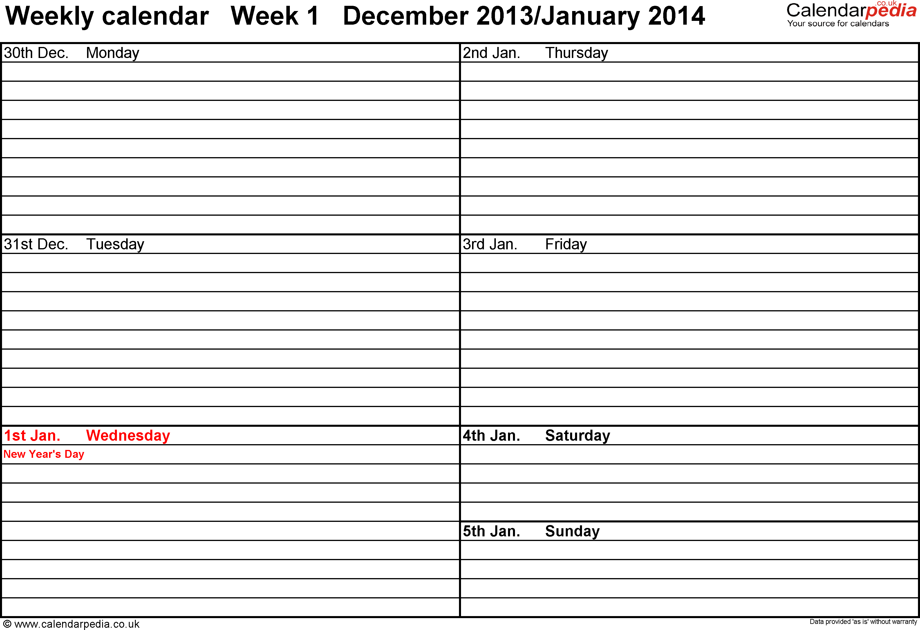 Excel template 3: Weekly calendar 2014, landscape orientation, 53 pages (1 calendar week on 1 page), week divided into 2 columns