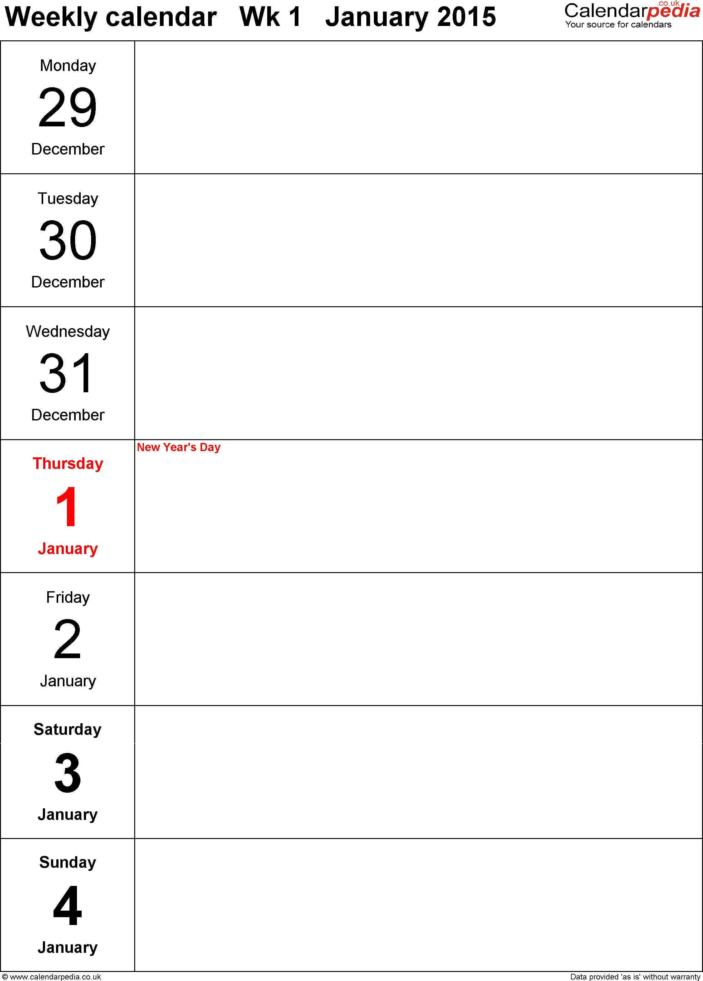 PDF Template 10: Weekly Calendar 2015, Portrait Orientation, Days  Vertically, 53 Pages  Days Of The Week Calendar Template