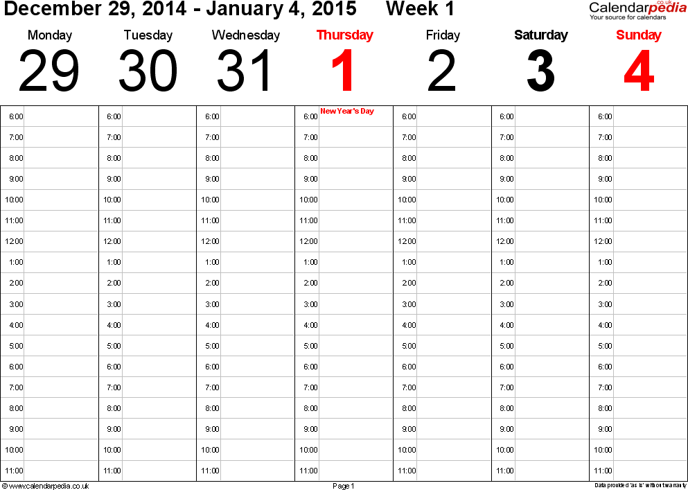 Word template 1: Weekly calendar 2015, landscape orientation, 53 pages (1 calendar week on 1 page), time management layout (showing 18 hours per day from 6am to midnight in 1 hour steps)