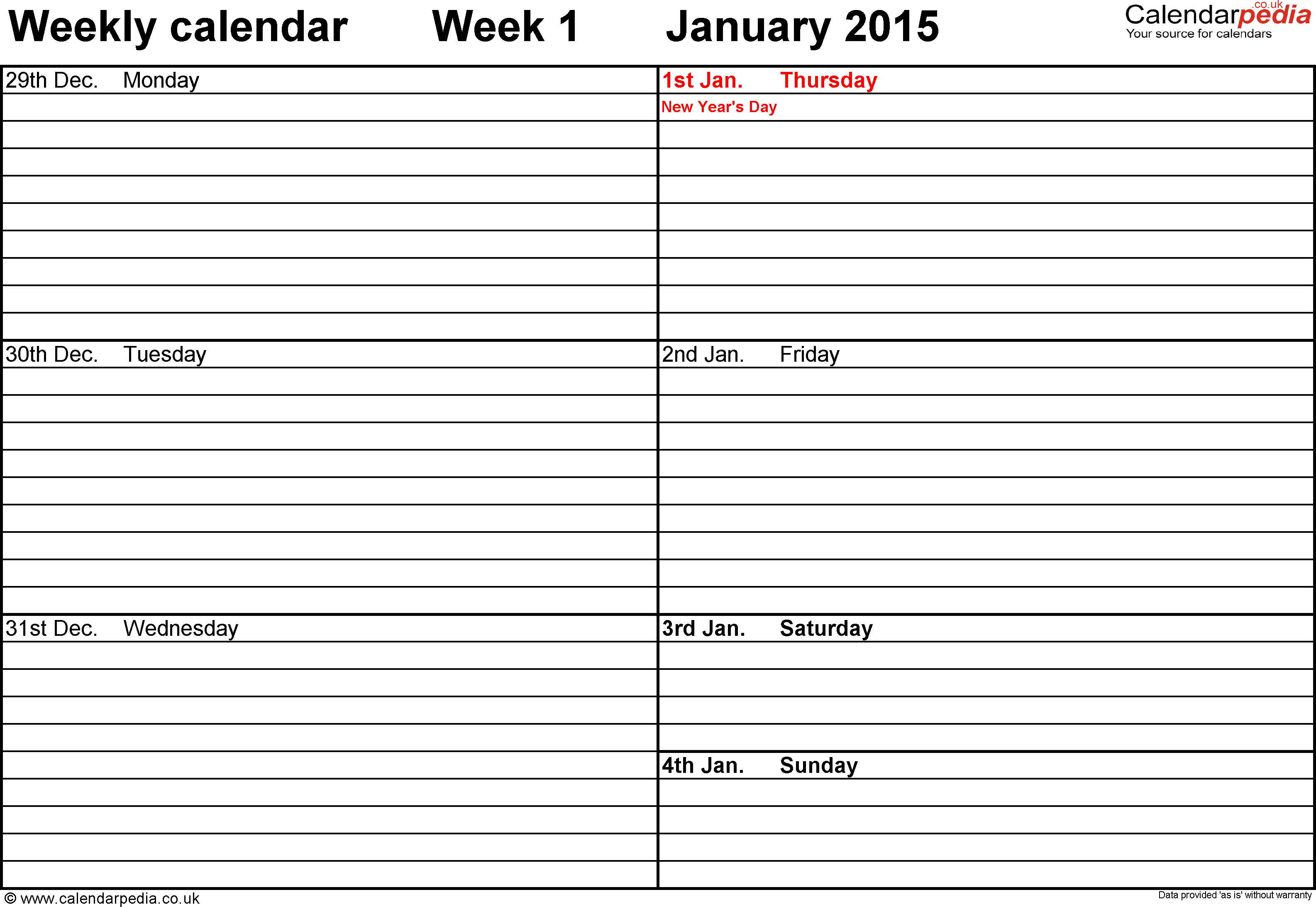 Word template 5: Weekly calendar 2015, landscape orientation, 53 pages (1 calendar week on 1 page), week divided into 2 columns
