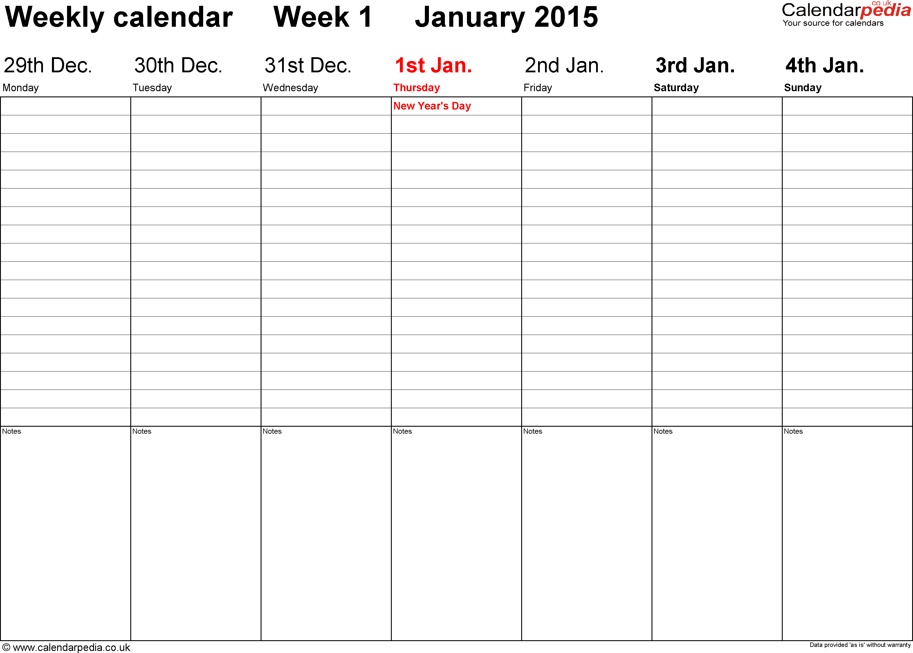 Word template 3: Weekly calendar 2015, landscape orientation, 53 pages (1 calendar week on 1 page), no time markings