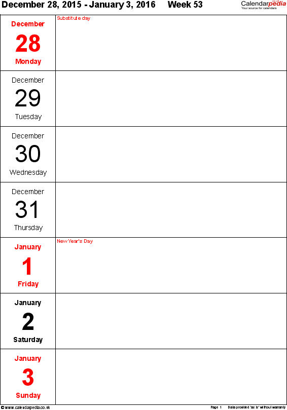 Download PDF template 10: Weekly calendar 2016, portrait orientation, days vertically, 53 pages (1 calendar week on 1 page)