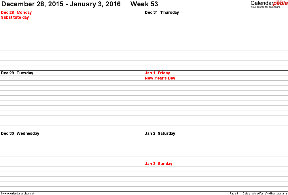 Weekly calendar 2016 UK free printable templates for Word – Word Template Weekly Calendar