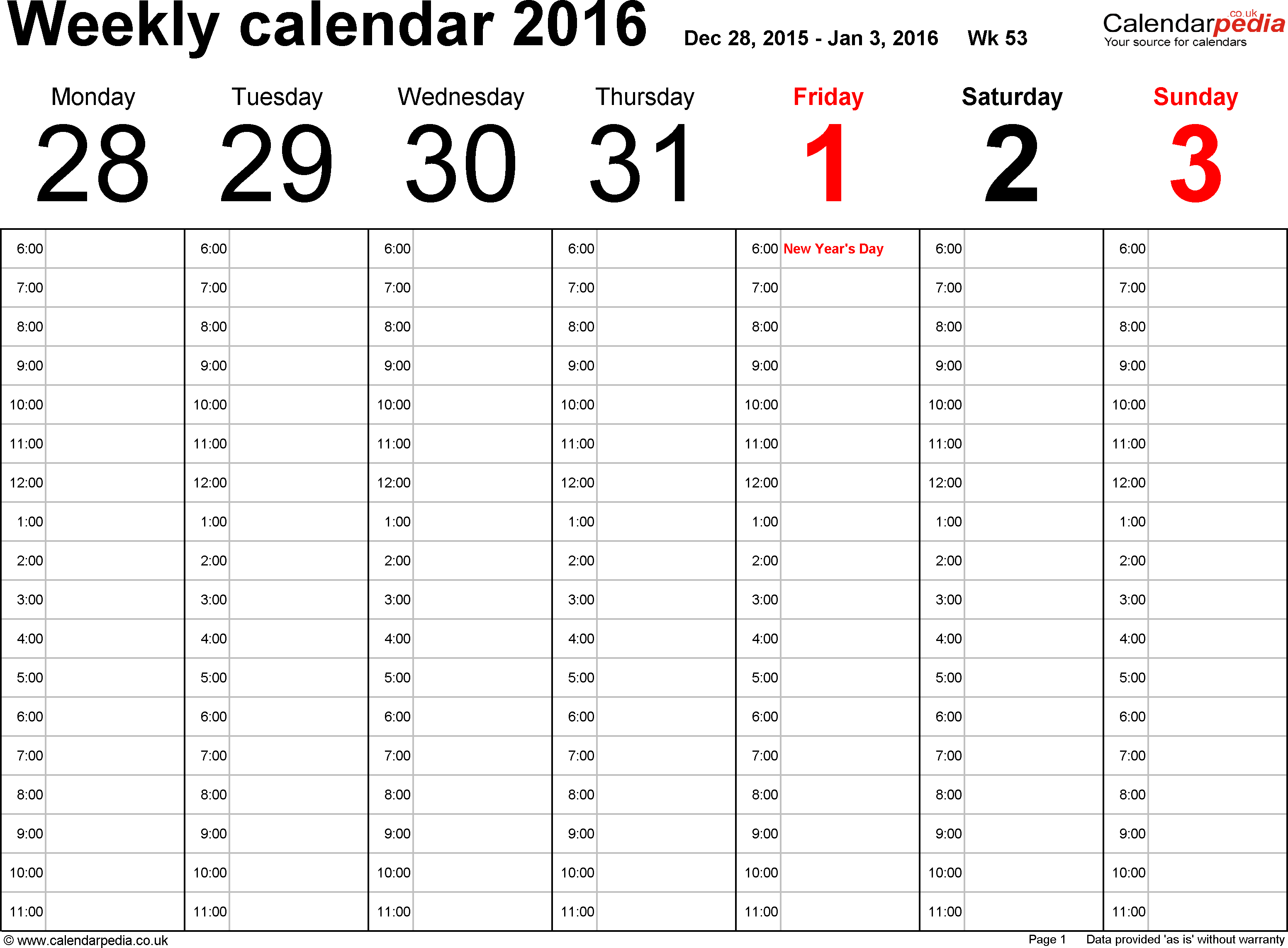 Download PDF template 1: Weekly calendar 2016, landscape orientation, 53 pages (1 calendar week on 1 page), time management layout (showing 18 hours per day from 6am to midnight in 1 hour steps)