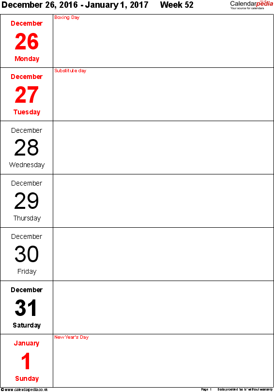 Word template 10: Weekly calendar 2017, portrait orientation, days vertically, 53 pages (1 calendar week on 1 page)