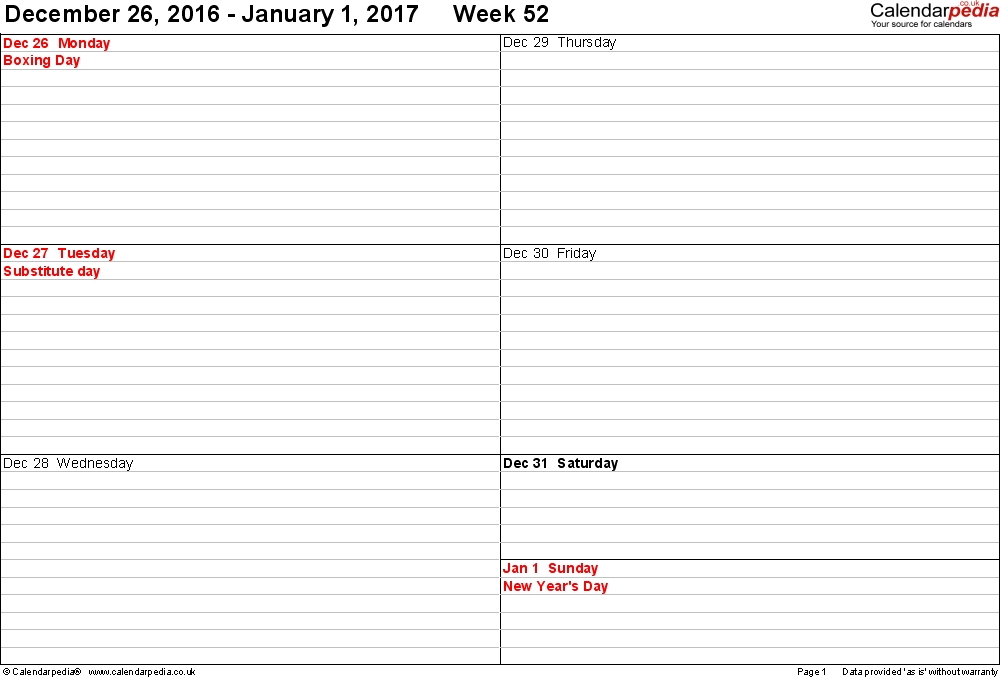Download Excel template 5: Weekly calendar 2017, landscape orientation, 53 pages (1 calendar week on 1 page), week divided into 2 columns