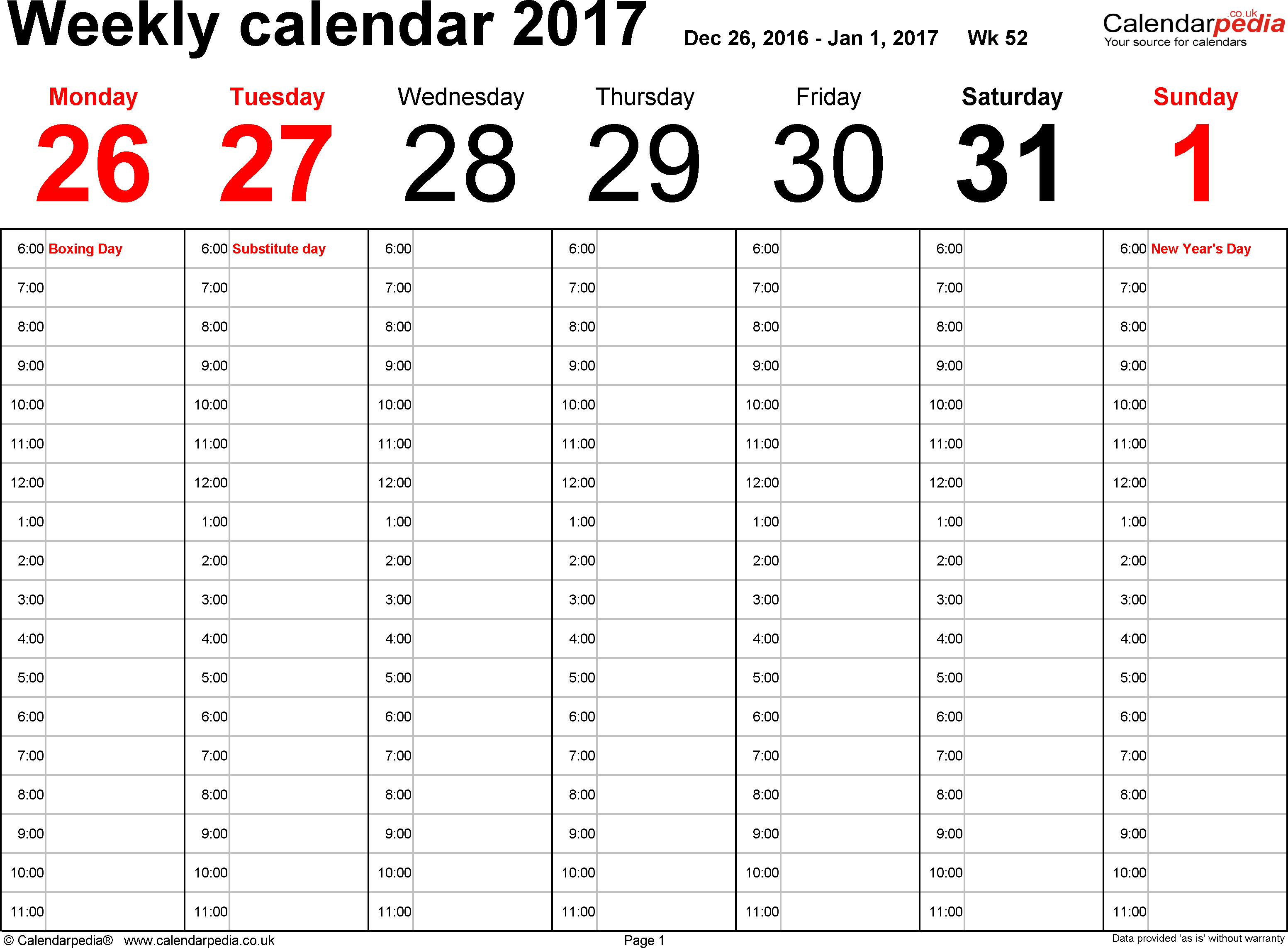 Word template 1: Weekly calendar 2017, landscape orientation, 53 pages (1 calendar week on 1 page), time management layout (showing 18 hours per day from 6am to midnight in 1 hour steps)