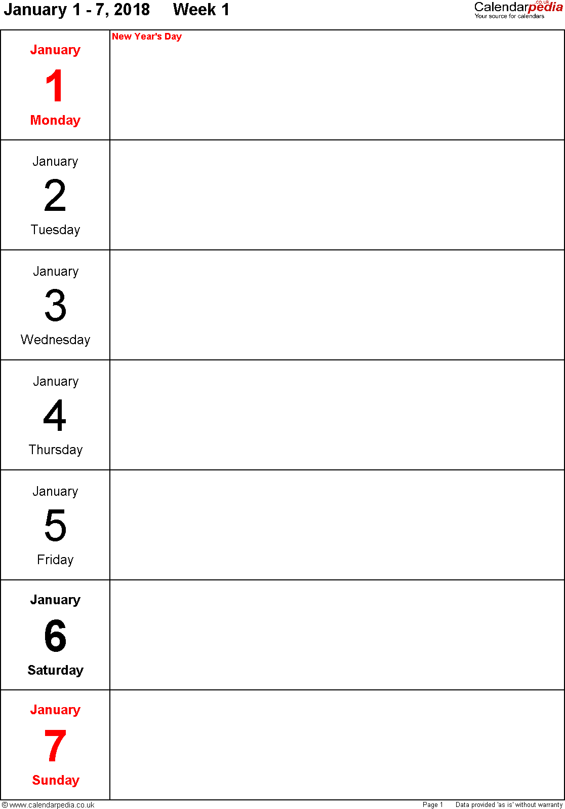 PDF template 10: Weekly calendar 2018, portrait orientation, days vertically, 53 pages (1 calendar week on 1 page)
