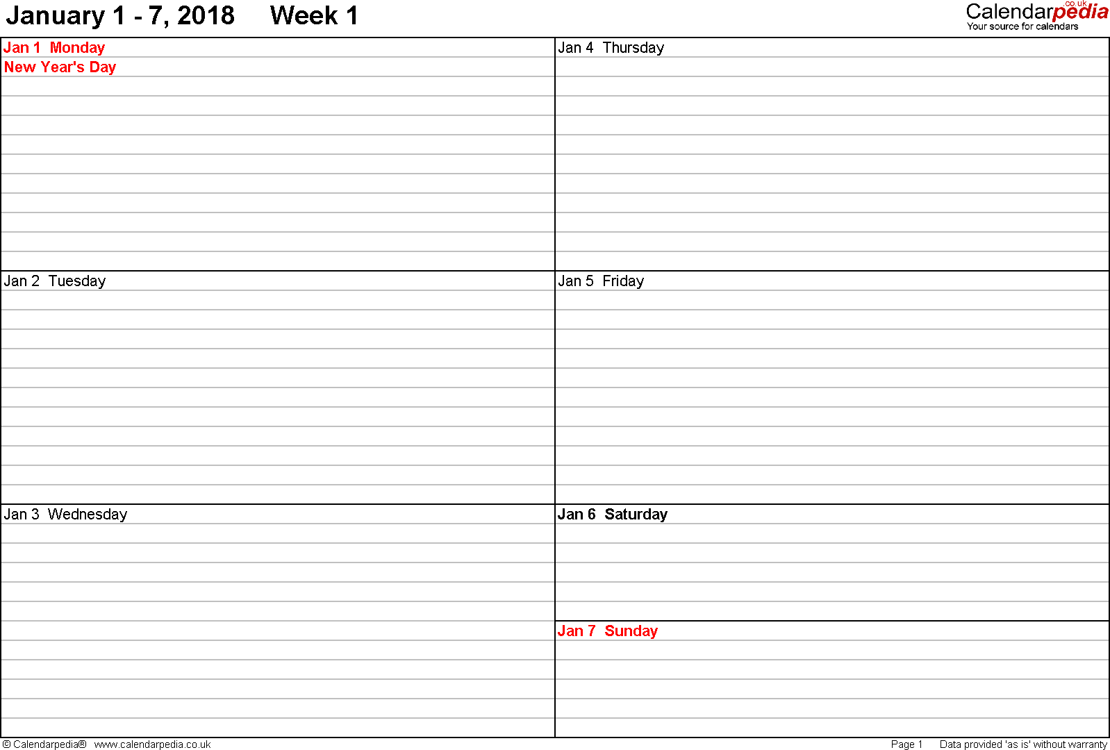 PDF template 5: Weekly calendar 2018, landscape orientation, 53 pages (1 calendar week on 1 page), week divided into 2 columns