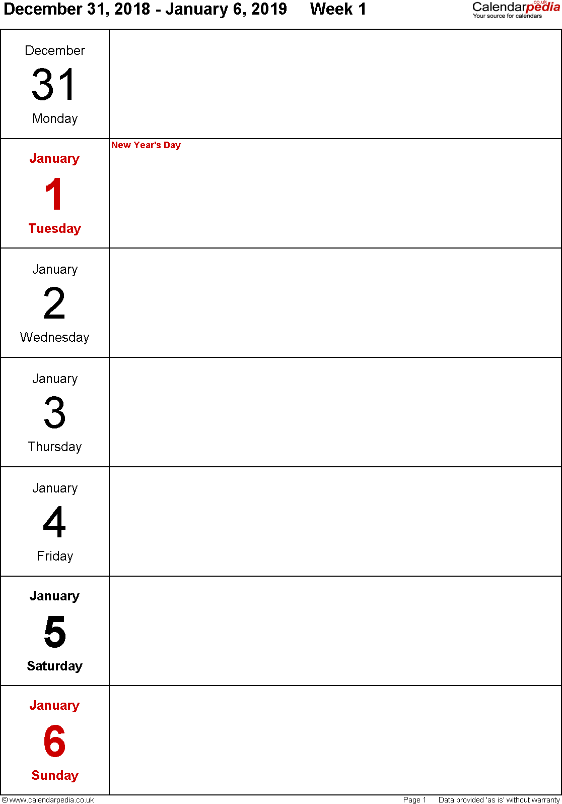 Excel template 10: Weekly calendar 2019, portrait orientation, days vertically, 53 pages (1 calendar week on 1 page)