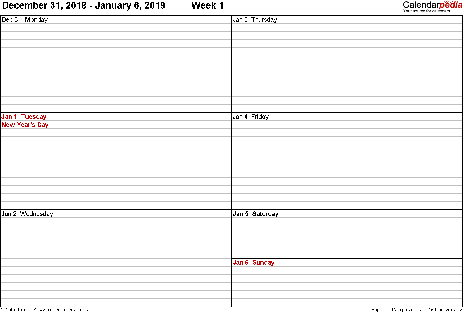 PDF template 5: Weekly calendar 2019, landscape orientation, 53 pages (1 calendar week on 1 page), week divided into 2 columns