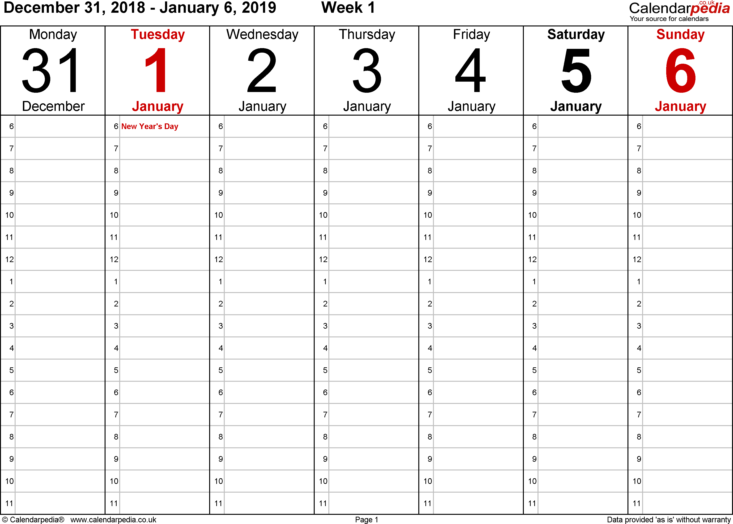 Download Word template 1: Weekly calendar 2019, landscape orientation, 53 pages (1 calendar week on 1 page), time management layout (showing 18 hours per day from 6am to midnight in 1 hour steps)