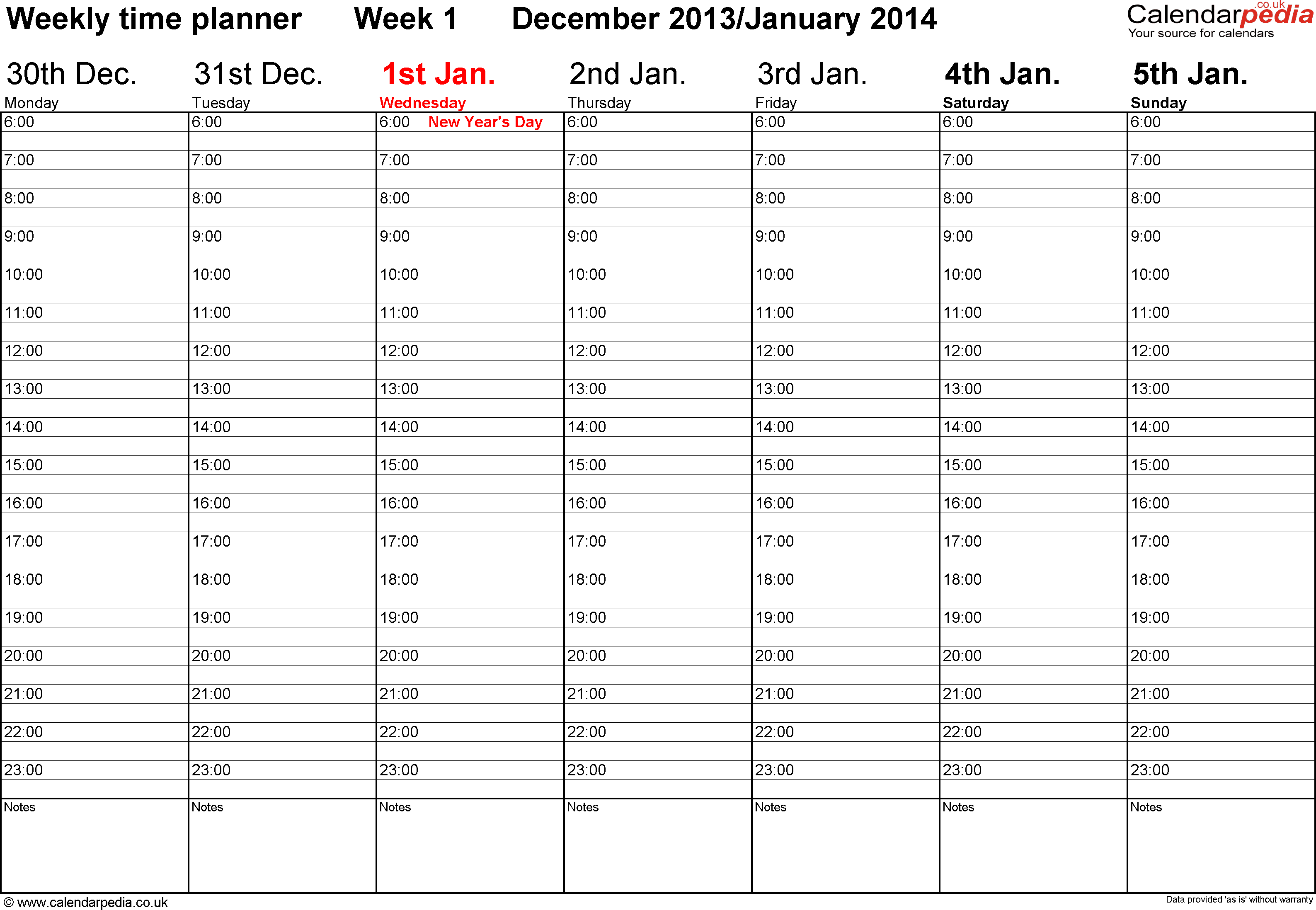 Excel template 1: Weekly calendar 2014, landscape orientation, 53 pages (1 calendar week on 1 page), time management layout (showing 18 hours per day from 6am to midnight in 30 minute steps)