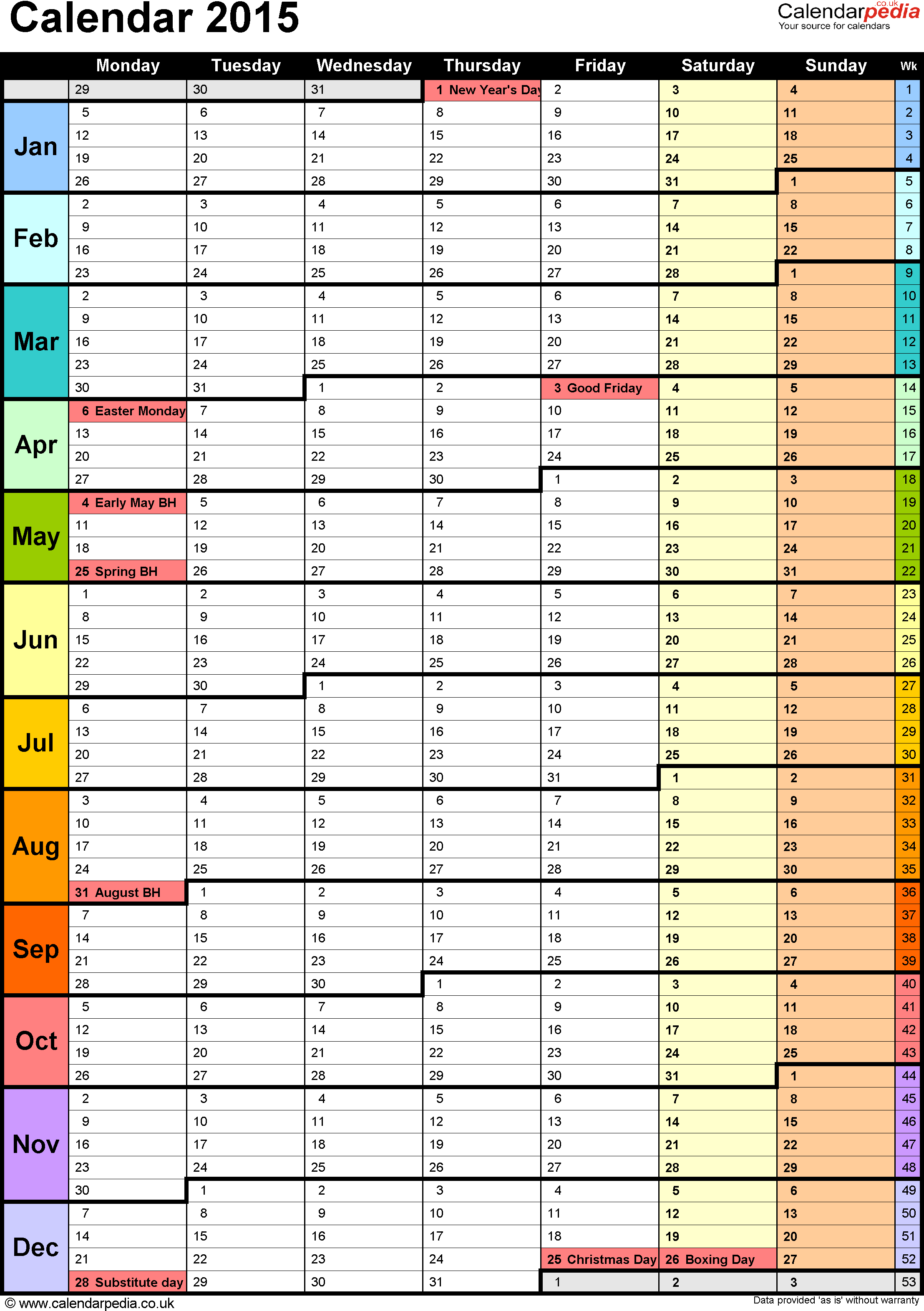 Template 15: Yearly calendar 2015 as PDF template, portrait orientation, 1 page, with UK bank holidays and week numbers, days in continuous flow/rolling layout