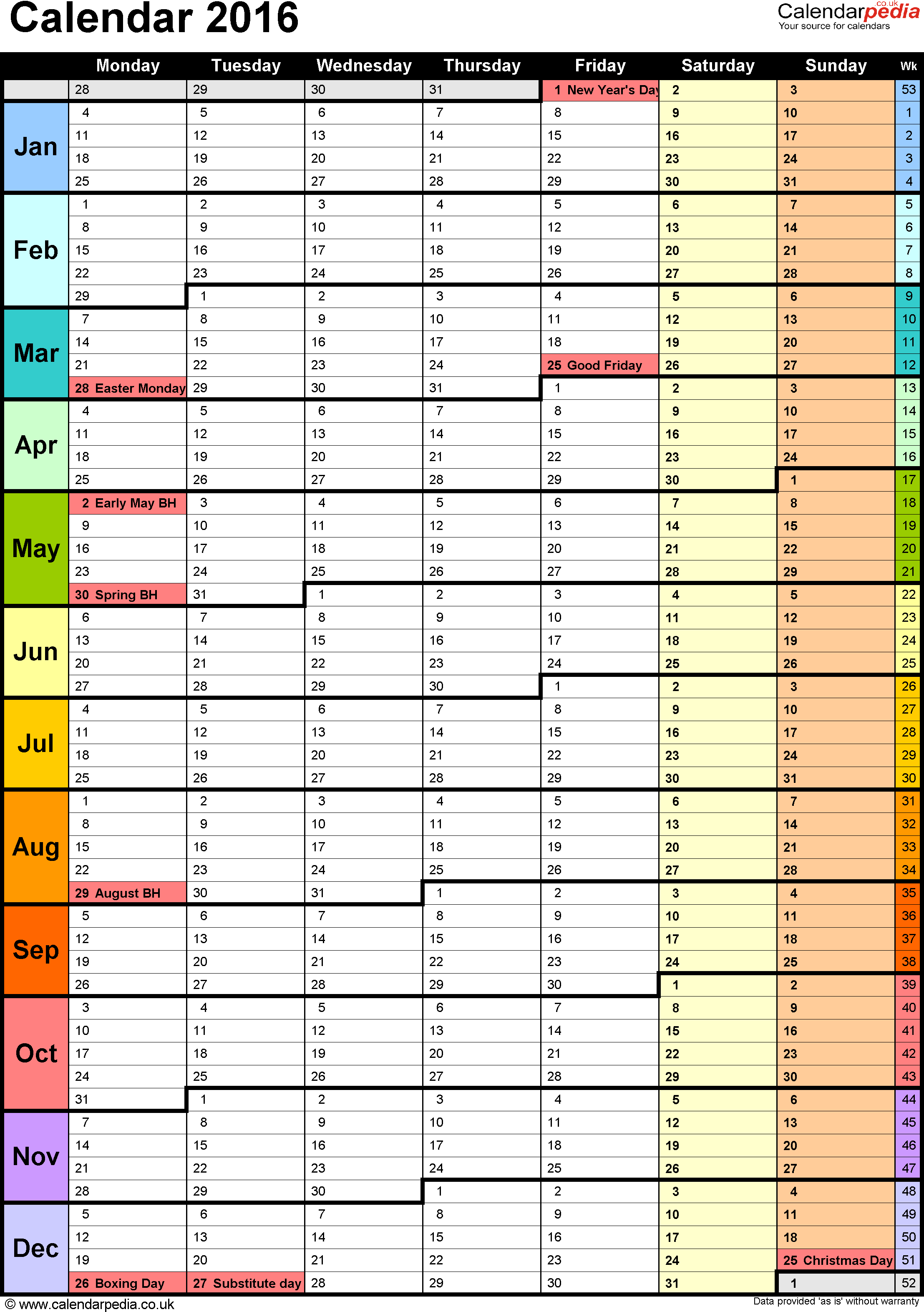 Template 15: Yearly calendar 2016 as PDF template, portrait orientation, 1 page, with UK bank holidays and week numbers, days in continuous flow/rolling layout